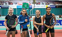 Wateringen, The Netherlands, December 15,  2019, De Rhijenhof , NOJK juniors doubles, Final girls 12 years, ltr: Britt de Pree (NED) Lina Ilahi (NED) Silver Bijlsma (NED) Megan Caffin (NED) <br /> Photo: www.tennisimages.com/Henk Koster