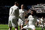Real Madrid´s Cristiano Ronaldo and Marcelo Vieira celebrates a goal during 2014-15 La Liga match between Real Madrid and Granada at Santiago Bernabeu stadium in Madrid, Spain. April 05, 2015. (ALTERPHOTOS/Luis Fernandez)