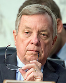 United States Senate Minority Whip Dick Durbin (Democrat of Illinois) listens as Judge Neil Gorsuch testifies before the United States Senate Judiciary Committee on his nomination as Associate Justice of the US Supreme Court to replace the late Justice Antonin Scalia on Capitol Hill in Washington, DC on Tuesday, March 21, 2017.<br /> Credit: Ron Sachs / CNP