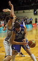 Kevin Owens loses the ball in contact during the NBL Basketball match between the Wellington Saints and Bay Hawks, TSB Bank Arena, Wellington, New Zealand on Saturday, 10 May 2008. Photo: Dave Lintott / lintottphoto.co.nz