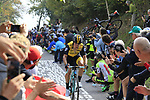 Primoz Roglic (SLO) Team LottoNL-Jumbo climbs the brutal 30% Muro di Surmano during the 112th edition of Il Lombardia 2018, the final monument of the season running 241km from Bergamo to Como, Lombardy, Italy. 13th October 2018.<br /> Picture: Eoin Clarke | Cyclefile<br /> <br /> <br /> All photos usage must carry mandatory copyright credit (© Cyclefile | Eoin Clarke)