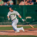 20 August 2017: Vermont Lake Monsters infielder Ryan Gridley, an 11th round draft pick for the Oakland Athletics, singles in the 5th inning against the Connecticut Tigers at Centennial Field in Burlington, Vermont. The Lake Monsters rallied to edge out the Tigers 6-5 in 13 innings of NY Penn League action.  Mandatory Credit: Ed Wolfstein Photo *** RAW (NEF) Image File Available ***