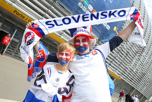 15.06.2016. Lille, France. UEFA Euro 2016 Group B soccer match Russia and Slovakia at Stade Pierre Mauroy in Lille Metropole, France, 15 June 2016.  fans of Slovakia