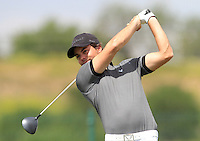 Antonio Hortal (ESP) on the 1st tee during Round 1 of the Challenge de Madrid, a Challenge  Tour event in El Encin Golf Club, Madrid on Wednesday 22nd April 2015.<br /> Picture:  Thos Caffrey / www.golffile.ie