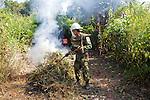 Burning Brush In Mine Field