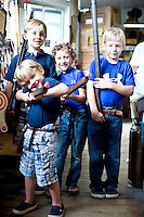 Cousins Miles and Max McClure and Garrett and Griffin Moore, display theri goods at the MAst General Store in Valle Crucis, NC.
