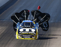 Feb 27, 2016; Chandler, AZ, USA; NHRA funny car driver Matt Hagan during qualifying for the Carquest Nationals at Wild Horse Pass Motorsports Park. Mandatory Credit: Mark J. Rebilas-