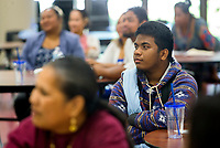 NWA Democrat-Gazette/JASON IVESTER<br /> Tanner Kiona (cq), 18, of Springdale listens Friday, June 9, 2017, to presenters at Springdale High School. UAMS hosted an event for Pacific Islander high school students and their parents to encourage the students to go into health care jobs.