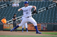 Liam Hendriks#32 of the Omaha Storm Chasers throws against the Las Vegas 51s at Werner Park on August 17, 2014 in Omaha, Nebraska. The Storm Chasers  won 4-0.   (Dennis Hubbard/Four Seam Images)