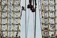 Workers seen during the construction of gigantic arch confinement of 4th reactor of Chernobyl Power plant.