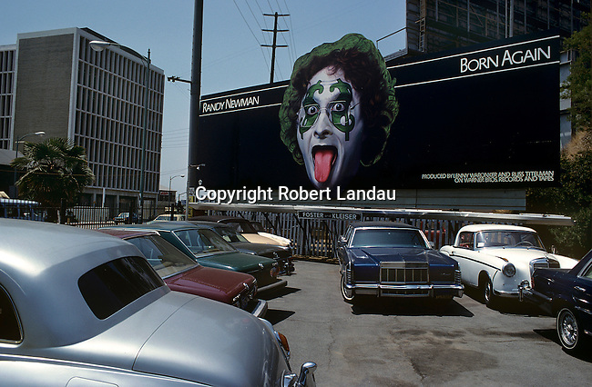 Billboard for Randy Newman record Born Again on the Sunset Strip in Los Angeles