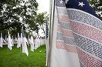 Three thousand flags display the names of the victims of the September 11th attacks in Battery Park in New York City, New York on the 10th anniversary of September 11th on 11 September 2011 in an effort to provide all New Yorkers who lived through the events of 9/11 a public place to gather and pay respects to those who were killed that day.