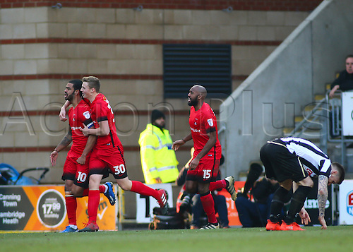 February 18th 2017,  Matchroom Stadium, Leyton, London, England, Skybet Division 2 football, Leyton Orient versus Notts County;  Paul McCallum of Leyton Orient celebrates scoring Orients first from a header in the 49th minute, joined by Sam Dalby and Nigel Atangana of Leyton Orient, 1-2 Notts County