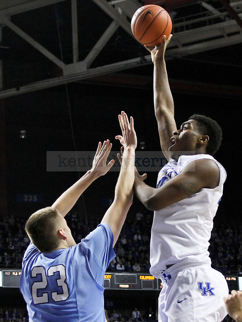 Kentucky forward Dakari Johnson shoots the ball over the Columbia defense during the first half of the UK men's basketball game vs. Columbia at Rupp Arena in Lexington , Ky., on Wednesday, December 10, 2014. Photo by Jonathan Krueger | Staff