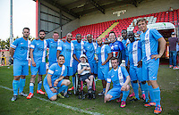 Celeb FC team photo during the 'Greatest Show on Turf' Celebrity Event - Once in a Blue Moon Events at the London Borough of Barking and Dagenham Stadium, London, England on 8 May 2016. Photo by Andy Rowland.