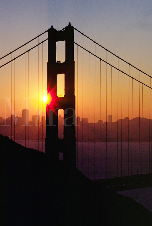 Silhouette of GOLDEN GATE BRIDGE in STARBURST SUNSET - SAN FRANCISCO, CALIFORNIA, USA