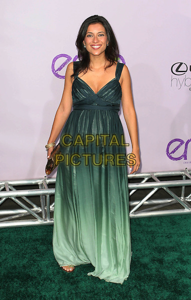 BAHAR SOOMEKH.18th Annual Environmental Media Awards held at the Ebell Theatre, Los Angeles, California, USA..November 13th, 2008.full length black dip dye fade faded dress long maxi gold clutch bag pregnant green .CAP/ADM/TC.©T. Conrad/AdMedia/Capital Pictures.
