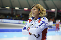 SCHAATSEN: HEERENVEEN: Thialf, World Cup, 02-12-11, 1500m A, coach of Alexis Contin FRA, Peter Mueller, ©foto: Martin de Jong