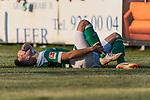 04.09.2018, Hoheellern-Stadion, Leer, GER, FSP, Werder Bremen (GER) vs FC Emmen (NED)<br /> <br /> DFL REGULATIONS PROHIBIT ANY USE OF PHOTOGRAPHS AS IMAGE SEQUENCES AND/OR QUASI-VIDEO.<br /> <br /> im Bild / picture shows<br /> Kevin Möhwald / Moehwald (Werder Bremen #06) bleibt nach Duell / Zweikampf mit Schmerzen liegen, <br /> <br /> Foto © nordphoto / Ewert