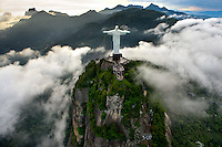 Brazil. Christ the Redeemer statue from helicopter.