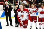 19 MAR 2016: The Division lll Women's Ice Hockey Championship is held at the Ronald B. Stafford Ice Arena in Plattsburgh, NY. Plattsburgh defeated Wis.-River Falls 5-1 for the national title.Plattsburgh's Melissa Sheeran #26 is applauded as MVP for the championship game.  Nancie Battaglia/NCAA Photos