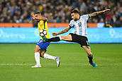 June 9th 2017, Melbourne Cricket Ground, Melbourne, Australia; International Football Friendly; Brazil versus Argentina; Gabriel Jesus of Brazil and Nicolas Otamendi of Argentina compete for the ball