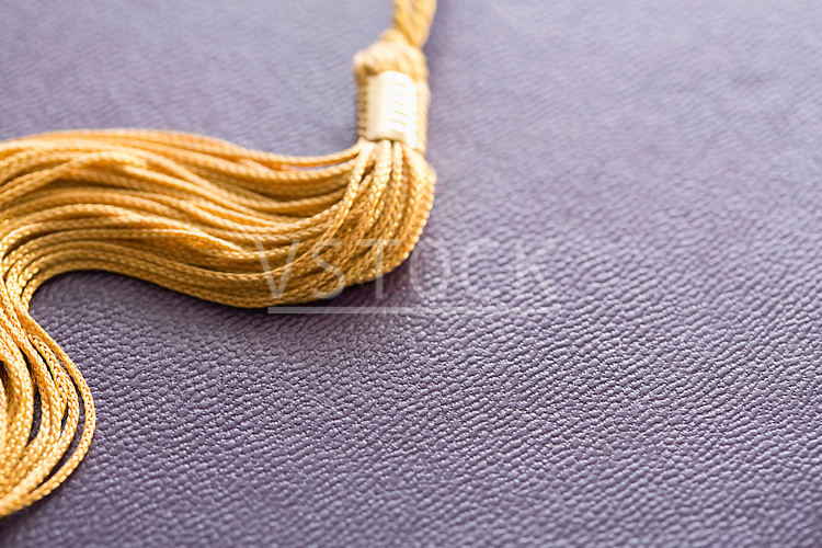 Close-up view of graduation tassel