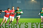 Adrian Spillane (Kerry) in action with Brian O'Driscoll and Mark Sugrue (Cork) in the Cabury Munster U21 Quarter Final 2014 at Austin Stack Park, Tralee on Wedneday night.