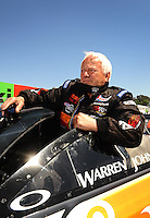 Jul. 17, 2010; Sonoma, CA, USA; NHRA pro stock driver Warren Johnson during qualifying for the Fram Autolite Nationals at Infineon Raceway. Mandatory Credit: Mark J. Rebilas-