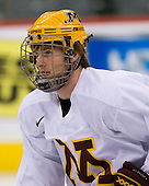 Patrick White (Minnesota 7) takes part in the Gophers' morning skate at the Xcel Energy Center in St. Paul, Minnesota, on Friday, October 12, 2007, during the Ice Breaker Invitational.