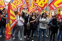 Roma, 13 Maggio 2015<br /> Lavoratrici e lavoratori del Comune di Roma manifestano davanti la sede del Ministero della Pubblica Amministrazione, contro il nuovo contratto e la precarietà.<br /> <br /> Rome, May 13, 2015<br /> Male and female workers of the Municipality of Rome protested outside the headquarters of the Ministry of Public Administration, against the new contract and precariousness.