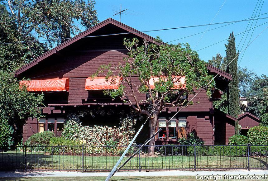Greene & Greene: Van Rossem House, 210 N. Grand. 1904.  Photo '84.