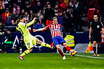 Lionel Messi of FC Barcelona (L) fights for the ball with Filipe Luis of Atletico de Madrid (R) during the La Liga 2018-19 match between Atletico Madrid and FC Barcelona at Wanda Metropolitano on November 24 2018 in Madrid, Spain. Photo by Diego Souto / Power Sport Images