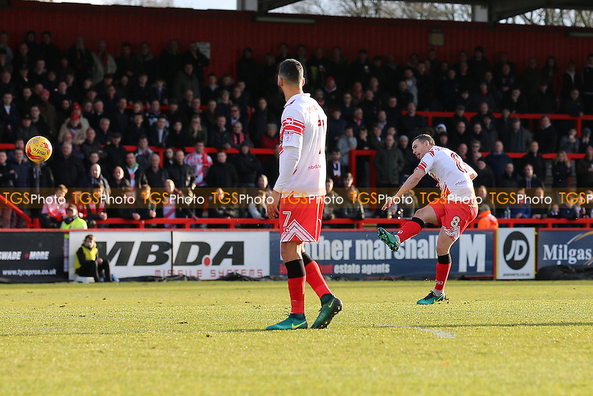 Steven Schumacher of Stevenage scores the first goal for his team during Stevenage vs Grimsby Town, Sky Bet EFL League 2 Football at the Lamex Stadium on 28th January 2017