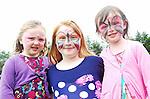 Colourful faces at the Tourmakeady show.Seoidin Staunton, Michaela Burke and Eabha Egan...Pic Conor McKeown.