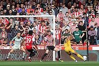 James Vaughan of Wigan takes a shot at the Brentford goal during Brentford vs Wigan Athletic, Sky Bet EFL Championship Football at Griffin Park on 15th September 2018