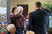 NWA Democrat-Gazette/BEN GOFF @NWABENGOFF<br /> Bill Skinner, who served in the U.S. Army from 1952-55, returns a salute Tuesday, June 4, 2019, during a pinning ceremony for military veterans at Primrose Retirement Communities Assisted Living in Rogers. The program recognized 32 local veterans, most of whom are residents of the facility. The recognition is part of Arkansas Hospice's We Honor Veterans campaign to pay respect to veterans in their later years. Mankin, who works with congressman Steve Womack's office, also shared his story of surviving a bomb blast in Iraq in 2015.