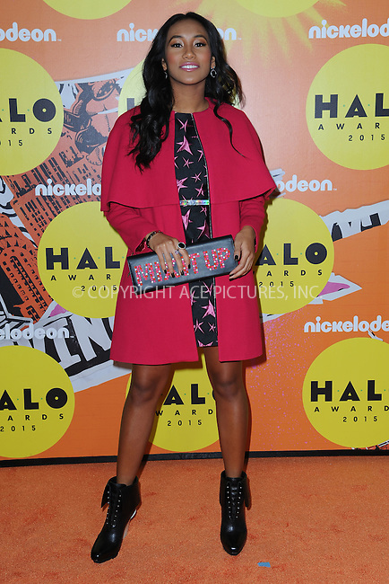 WWW.ACEPIXS.COM<br /> November 14, 2015 New York City<br /> <br /> Sydney Park attending the 2015 Nickelodeon HALO Awards at Pier 36 on November 14, 2015 in New York City.<br /> <br /> Credit: Kristin Callahan/ACE<br /> Tel: (646) 769 0430<br /> e-mail: info@acepixs.com<br /> web: http://www.acepixs.com
