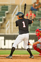 Tyler Saladino #1 of the Kannapolis Intimidators at bat against the Lakewood BlueClaws at Fieldcrest Cannon Stadium July 14, 2010, in Kannapolis, North Carolina.  Photo by Brian Westerholt / Four Seam Images