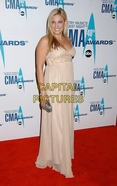 JULIE ROBERTS.Arrivals - 40th Annual CMA Awards held at Gaylord Entertainment Center, Nashville, Tennessee, USA, .06 November 2006..full length cream beige dress beaded .Ref: ADM/LF.www.capitalpictures.com.sales@capitalpictures.com.©Laura Farr/AdMedia/Capital Pictures. *** Local Caption *** .
