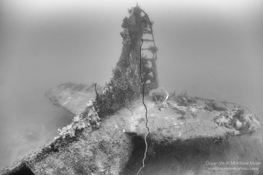 Munda, Western Province, Solomon Islands; the tail section of a Douglas A-24 Banshee Dive Bomber / Reconnaissance Aircraft, which crashed into the sea during WWII, resting upright on the sandy bottom, the wings have separated from the fuselage and are laying to its side but the propeller is still intact and bent back from impact with the water upon crashing