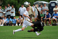 Dominick Sarle (10) of the USA and goalkeeper Adam Zepeda (1) of the Academy Select Team. The US U-17 Men's National Team defeated the Development Academy Select Team 5-3 during day two of the US Soccer Development Academy  Spring Showcase in Sarasota, FL, on May 23, 2009.