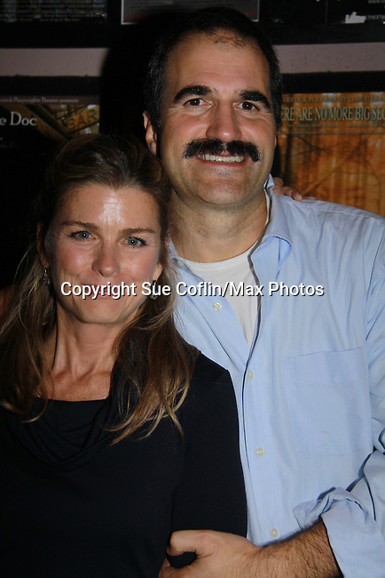 """Fiona Hutchison poses with husband One Life To Live John Viscardi stars as """"Mike McAlary"""" in The Wood at the Rattlestick Playwrights Theater, New York City, New York. The photo was taken on Septermber 16, 2011 night after opening night. John as """"Mike"""" in The Wood which is a """"heartfelt no-holds-barred look at """"Mike McAlary"""" larger than life columnist. His missionary zeal to ferret out the truth."""" (Photo by Sue Coflin/Max Photos)"""
