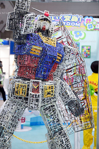 "December 13, 2012, Tokyo, Japan - The robot Gundam made by plastic recycling. The Eco-Products Exhibition is one of the biggest environmental issues in Japan, drawing more than 180,000 business people and consumer exhibitors. The theme of this year is ""The Greener, The Smaller - The Future We Will Choose"", the exhibition will be held from December 13th to 15th in Tokyo Big Sight.(Photo by Rodrigo Reyes Marin/AFLO).."
