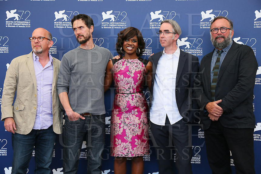 From left, Adam Hohenberg, director Jake Mahaffy, actress Edwina Findley and producers Michael Bowes and Mike S. Ryan attend a photocall for the movie 'Free In Deed' during the 72nd Venice Film Festival at the Palazzo Del Cinema in Venice, Italy, September 11, 2015.<br /> UPDATE IMAGES PRESS/Stephen Richie