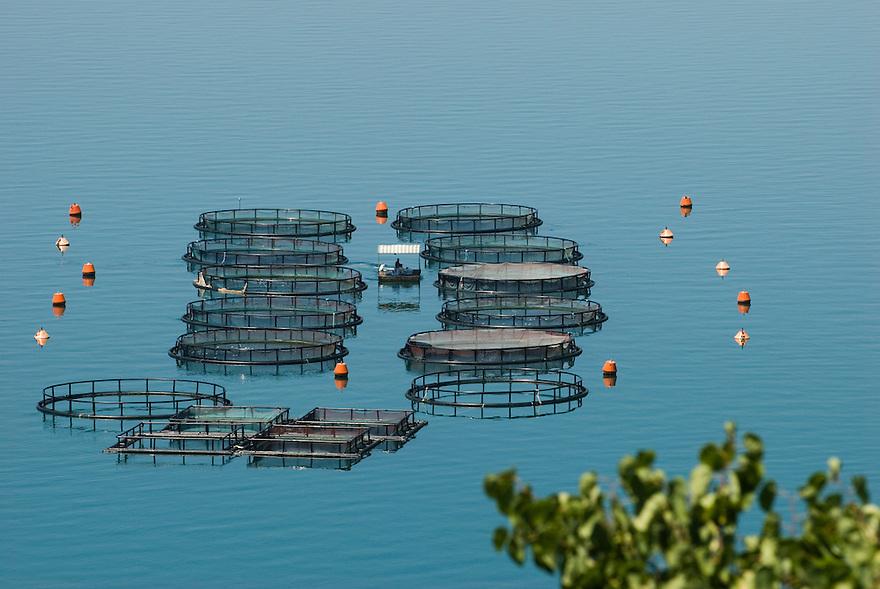Griekenland, omgev. Nafpaktos, 13 juli 2007.Viskwekerij in de golf van Korinthe..Drijvende kooien voor viskweek..Foto (c) Michiel Wijnbergh