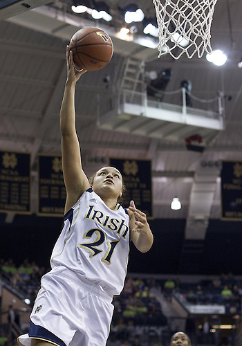 November 20, 2012:  Notre Dame guard Kayla McBride (21) goes up for shot during NCAA Women's Basketball game action between the Notre Dame Fighting Irish and the Mercer Bears at Purcell Pavilion at the Joyce Center in South Bend, Indiana.  Notre Dame defeated Mercer 93-36.