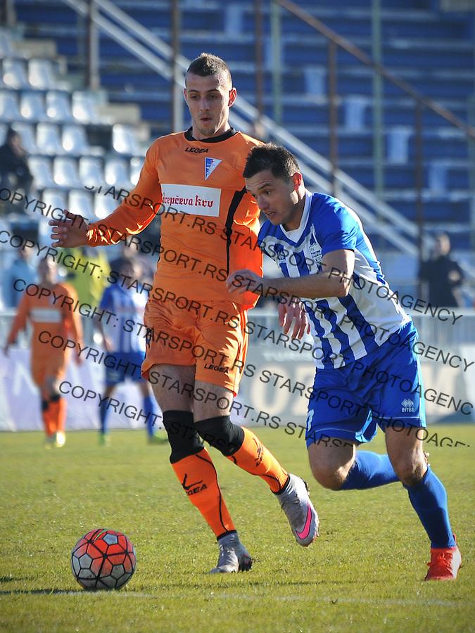 Fudbal Jelen Super League season 2016-2017<br /> Novi Pazar v Spartak<br /> Enver Alivodic (D) i Nikola Kovacevic (L)<br /> Novi Pazar, 4. 12. 2016<br /> foto: Emir Sadovic/Starsportphoto &copy;