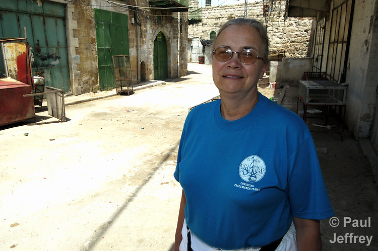 "Diane Roe, a United Methodist from Corning, New York, lives in the abandoned ""no persons land"" in the center of the ancient city of Hebron, where violence by Israeli settlers has driven out Palestinian families. Roe is a member of the Christian Peacemaker Teams."