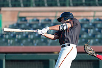 AZL Giants Orange designated hitter Sean Roby (5) swings at a pitch during an Arizona League game against the AZL Rangers at Scottsdale Stadium on August 4, 2018 in Scottsdale, Arizona. The AZL Giants Black defeated the AZL Rangers by a score of 3-2 in the first game of a doubleheader. (Zachary Lucy/Four Seam Images)